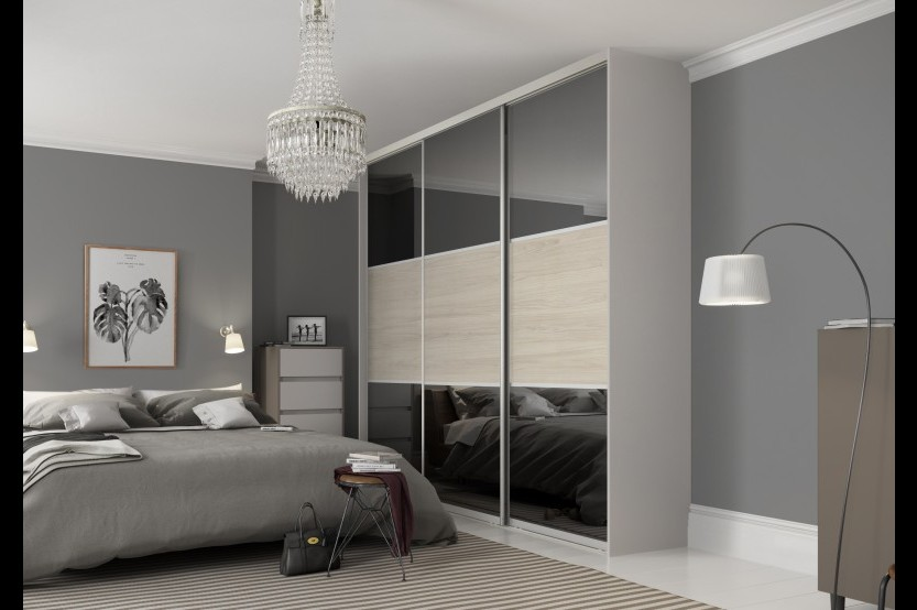 Dulap gri glisant pentru un dormitor Dormitoare din MDF la comanda chisinau
