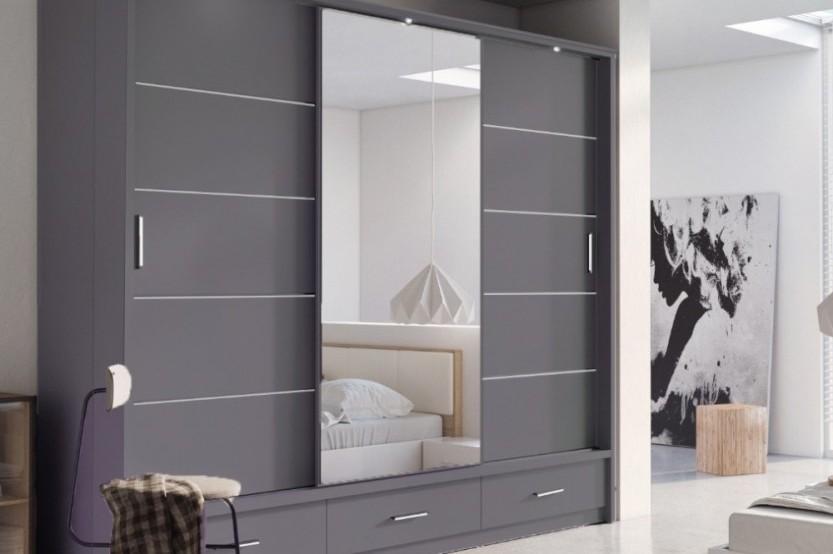 Dulap gri glisant pentru un dormitor Dormitoare din MDF mobila