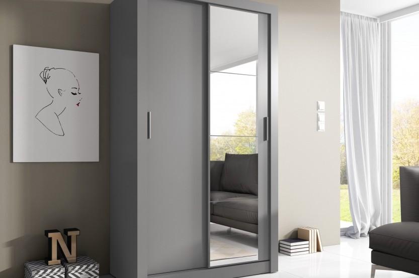 Серый шкаф-купе для спальни Спальни из МДФ la comanda chisinau