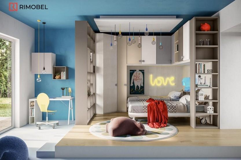 """Dormitor cu 2 paturi """"Colibri"""" Cameră copii 2 paturi mobila"""