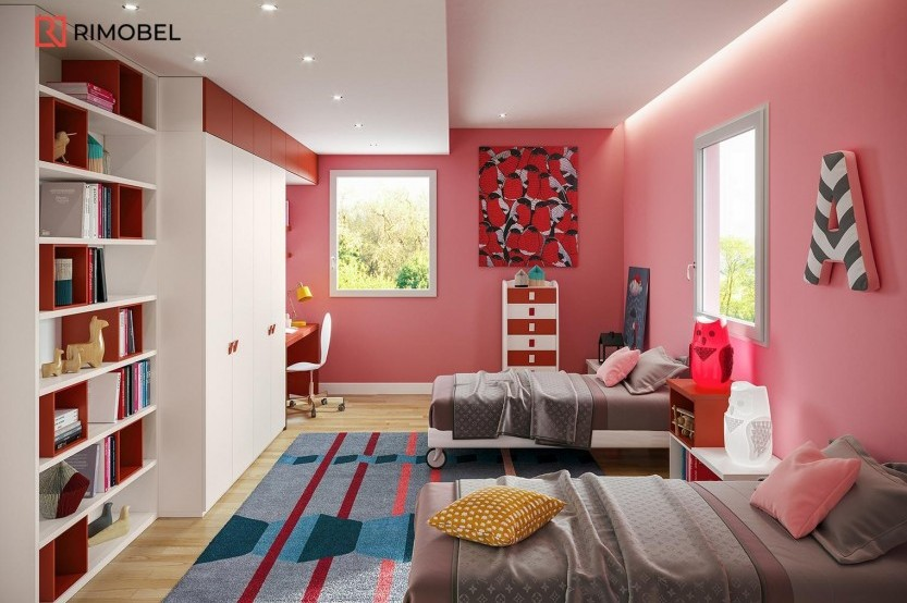 """Dormitor fetiță """"Red"""" Cameră copii fete mobila"""