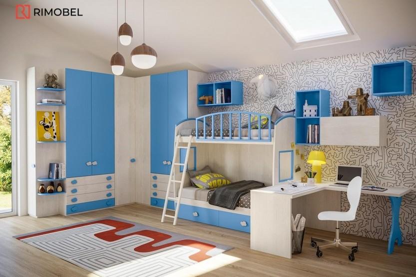 """Dormitor cu 2 paturi """"Mobi"""" Cameră copii 2 paturi la comanda"""