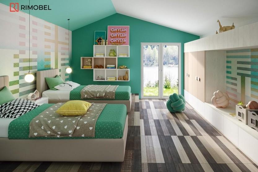 """Спальня с 2 кроватями """"Моби"""" Детская комната 2 кровати la comanda"""