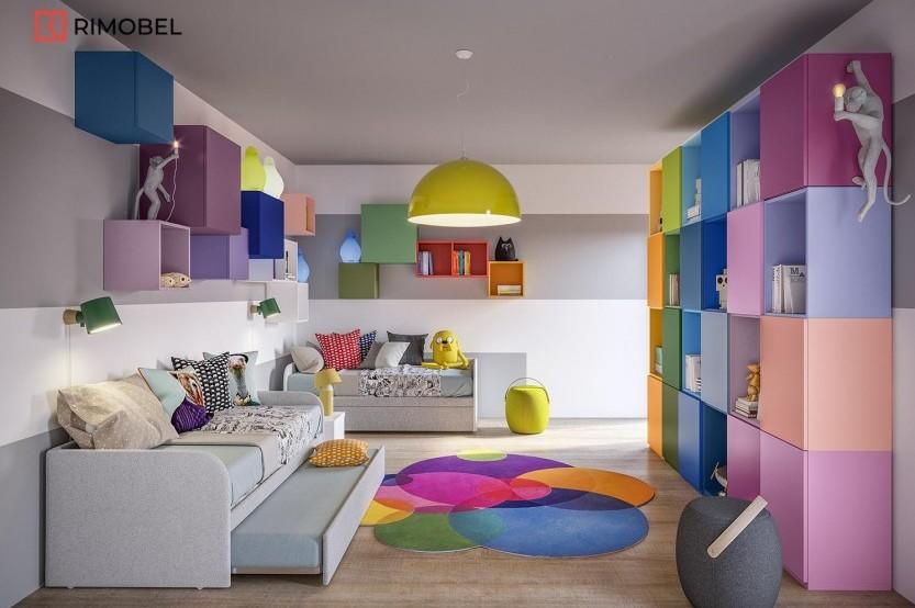 """Dormitor cu 2 paturi """"Soft"""" Cameră copii 2 paturi mobila"""
