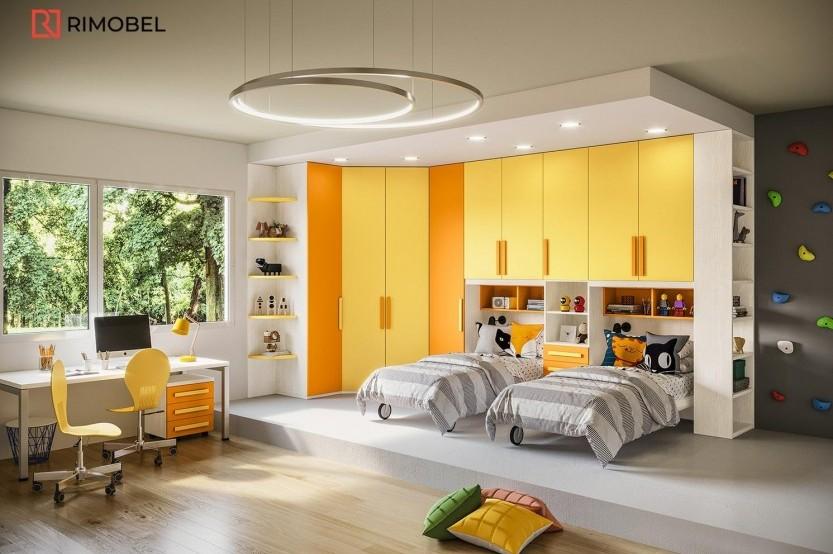 """Dormitor cu 2 paturi """"Matteo"""" Cameră copii 2 paturi mobila"""