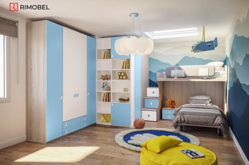 """Dormitor cu 2 paturi """"Delfin"""" Cameră copii 2 paturi mobila"""