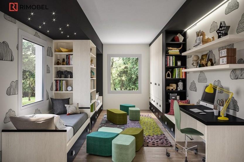 """Dormitor cu 2 paturi """"Kvest"""" Cameră copii 2 paturi la comanda"""